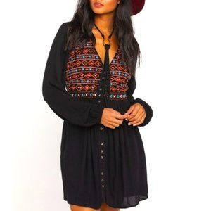 SHYANNE- Embroidered  Button-down Peasant Dress